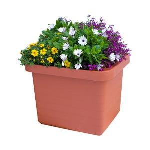 Veľkoobjemový samozavlažovací kvetináč vo farbe terakoty Plastia Berberis UNO, 27 l