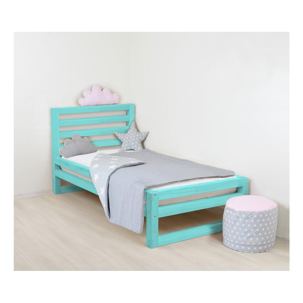 Detská tyrkysovomodrá drevená jednolôžková posteľ Benlemi DeLuxe, 160 × 90 cm