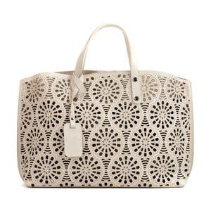 Béžová kožená kabelka Mangotti Bags Lulia