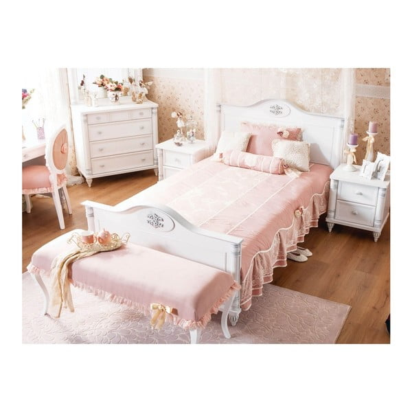 Biela jednolôžková posteľ Romantic Bed, 120 × 200 cm