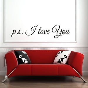 Samolepka na stenu P.S. I Love You, čierna