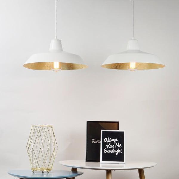 Závesné svietidlo s 2 bielymi káblami a tienidlami v bielej a zlatej farbe Bulb Attack Cinco