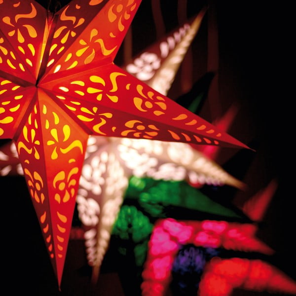 Červená závesná svietiaca hviezda Best Season Dot Red, 70 cm