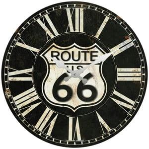 Sklenené hodiny Route 66, 34 cm
