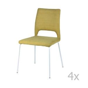 Sada 4 žltých jedálenských stoličiek sømcasa Lena