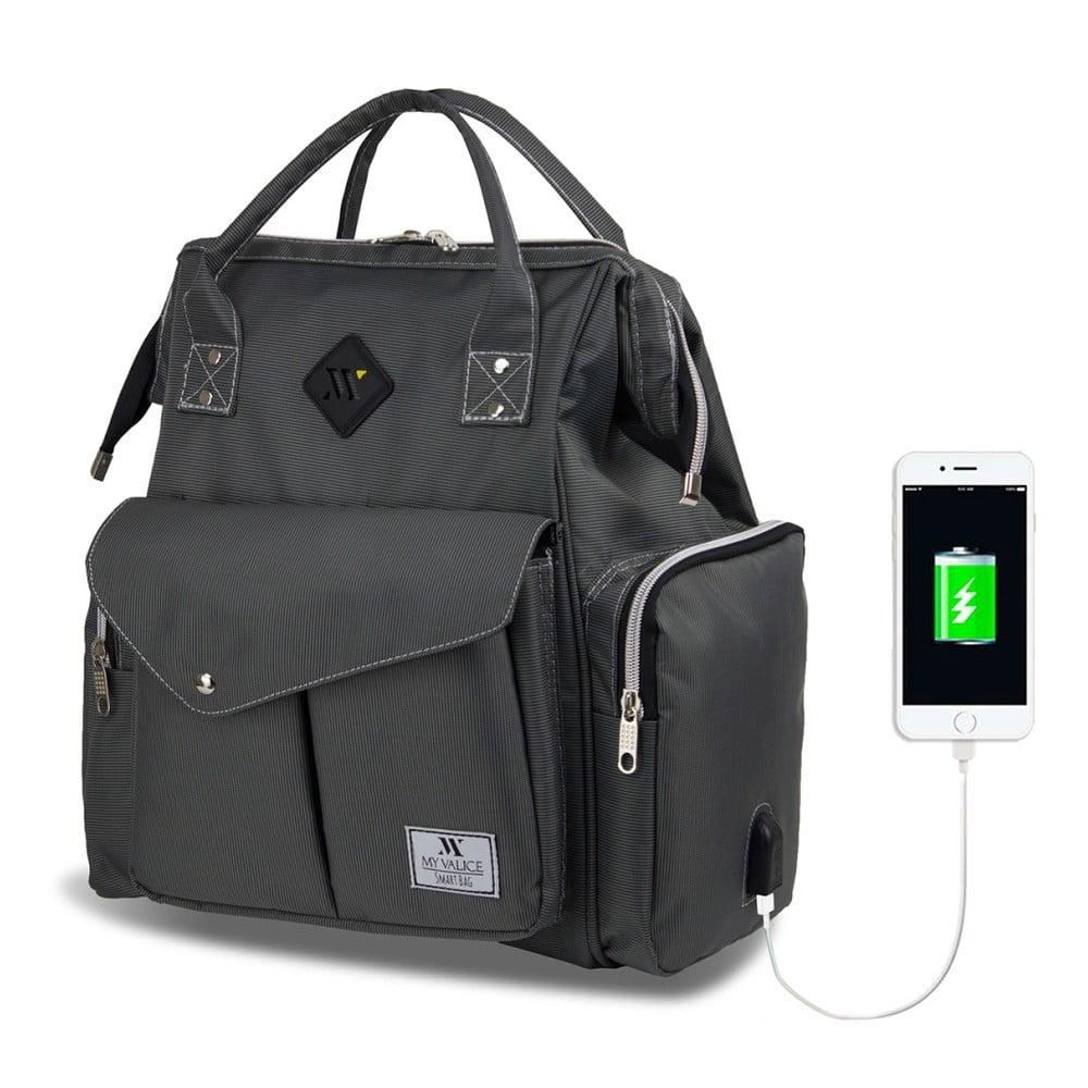 Antracitový batoh pre mamičky s USB portom My Valice HAPPY MOM Baby Care Backpack