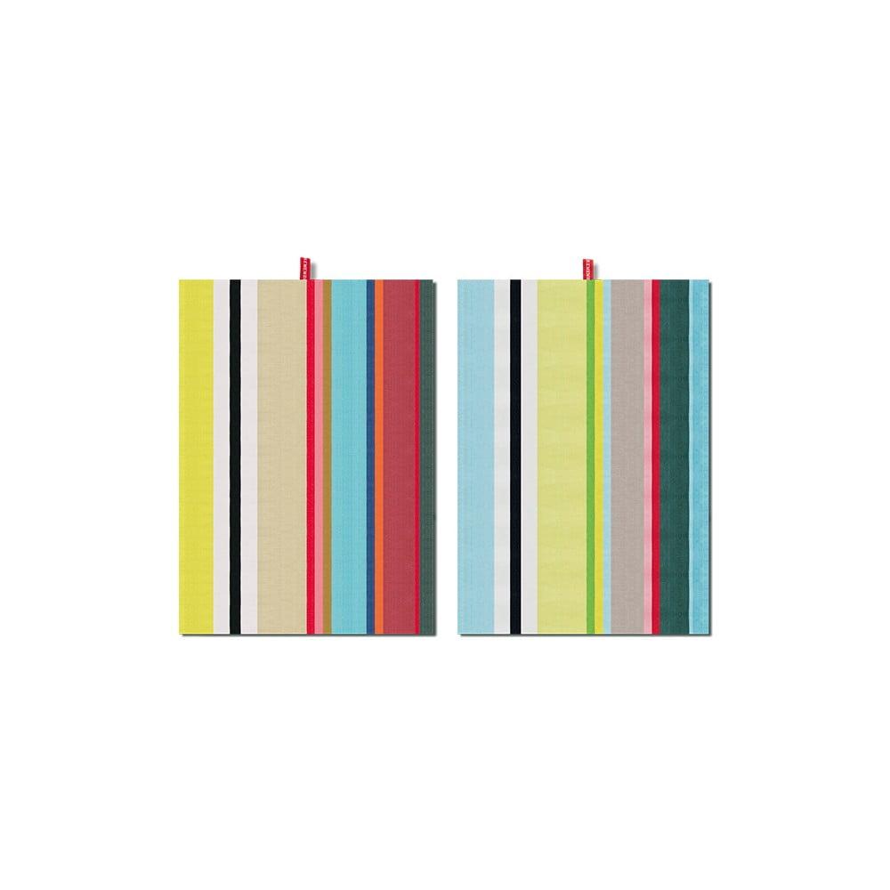 Súprava 2 bavlnených utierok Remember Green Stripes, 70 × 50 cm