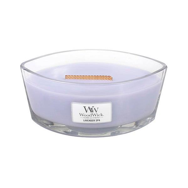 Vonná sviečka WoodWick Levanduľová kúpeľ, 453 g, 50 hodín