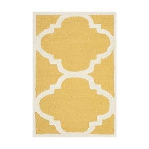 Žltý vlnený koberec Clark Yellow, 60×91 cm