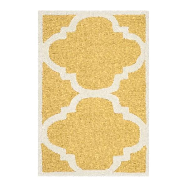 Vlnený koberec Clark Yellow, 60x91 cm