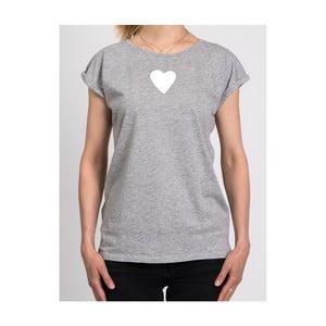 Dámske sivé tričko z organickej bavlny s motívom Spolu od Lény Brauner & IM Cyber pre KlokArt, veľ.L