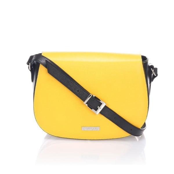 Kožená kabelka Krole Karina, žltá/čierna