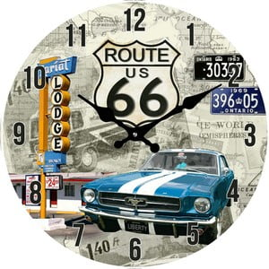 Sklenené hodiny Route 66, 38 cm