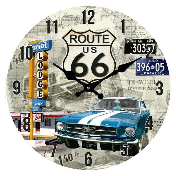 Sklenené hodiny Route66, 38 cm