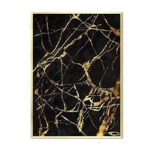 Nástenný ručne maľovaný obraz JohnsonStyle Gold & Black Marble Duro, 53 x 73 cm