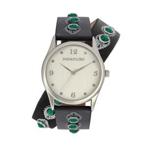 Dámske hodinky s koženým remienkom a zelenými kameňmi Manoush Strap On