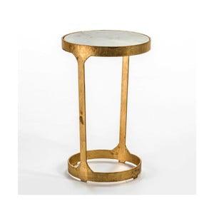 Odkladací stolík v zlatej farbe s mramorovou doskou Thai Natura, ∅ 36 cm