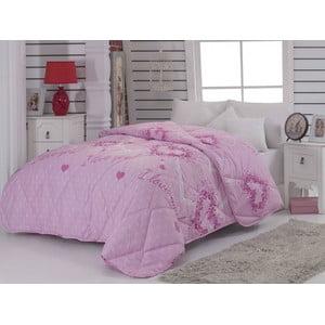 Prešívaná prikrývka na dvojlôžko Suenso Pink, 195x215 cm