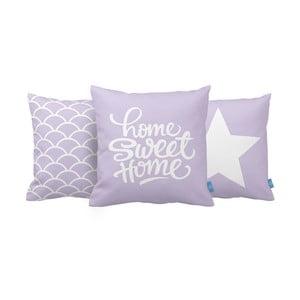 Sada 3 vankúšov Home Sweet Home, 43x43 cm, fialová