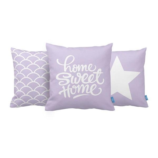 Sada 3 fialových vankúšov Homemania Home Sweet Home, 43 x 43 cm