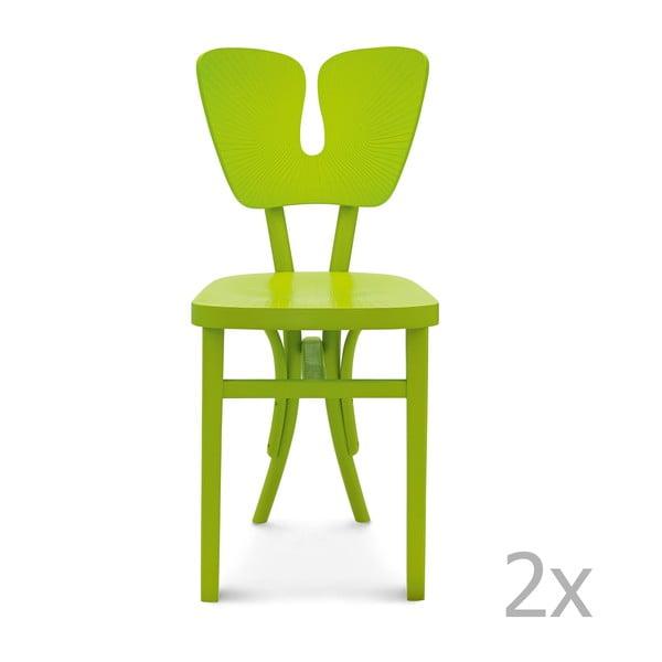 Sada 2 zelených drevených stoličiek Fameg Gitte