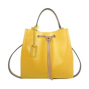 Žltá kožená kabelka s béžovým detailom Maison Bag Lexy