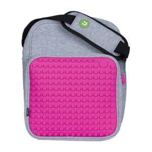 Pixelová taška cez rameno, grey/fuchsia
