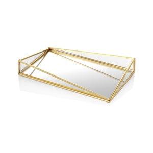 Dekoratívny sklenený podnos s mosadzným detailom The Mia Glamour, 33 x 20 cm