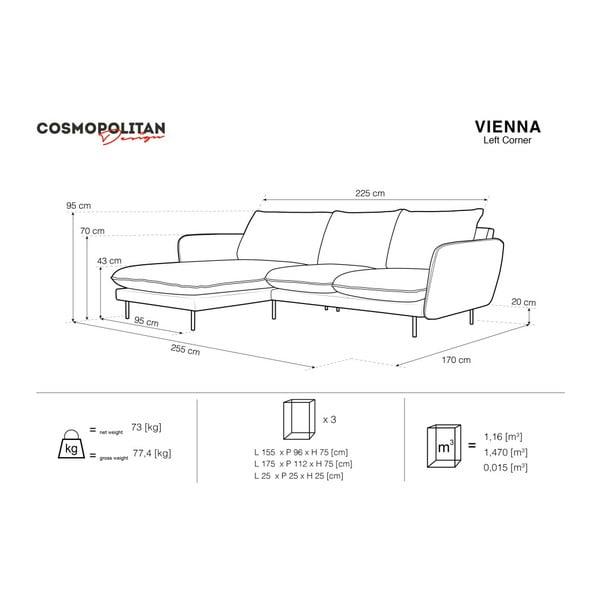 Svetlomodrá rohová pohovka Cosmopolitan Design Vienna, ľavý roh