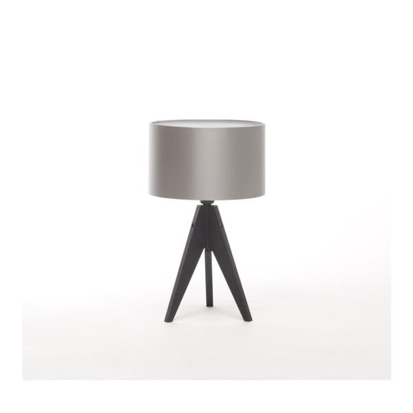 Strieborná stolová lampa 4room Artist, čierna lakovaná breza, Ø 25 cm