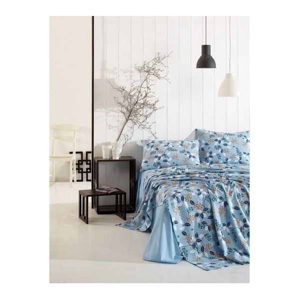 Set modrej elastickej plachty a 2 obliečok na vankúše na jednolôžko Basso Azuro, 160 × 240 cm