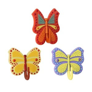 Sada 3 farebných samolepiacich háčikov Metaltex Butterfly