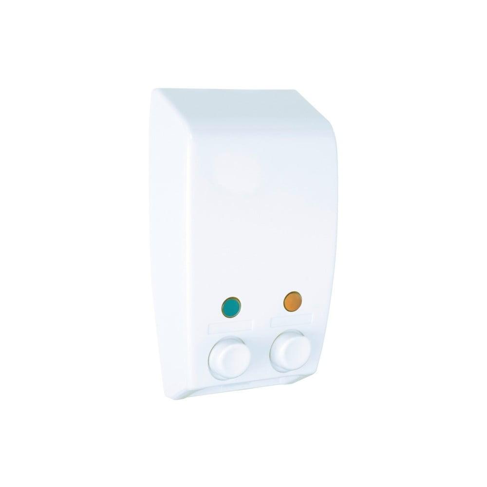Biely nástenný dávkovač na mydlo Wenko Varese Double Chamber White