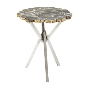 Sivý odkladací stolík Kare Design Trasury, ⌀40cm