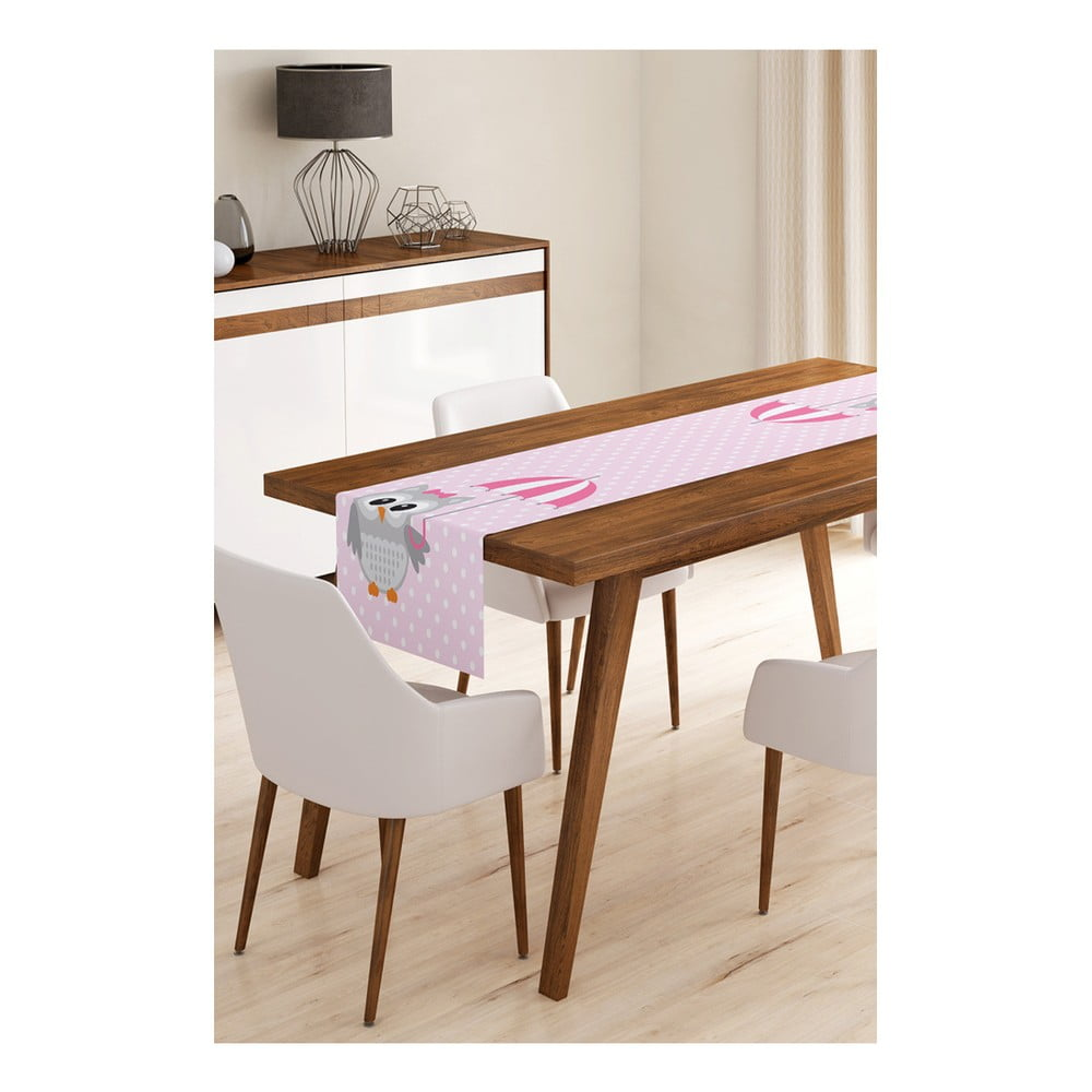 Behúň na stôl z mikrovlákna Minimalist Cushion Covers Owl with Umbrella, 45 × 145 cm