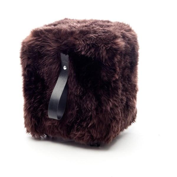 Hnedo-čierny hranatý puf z ovčej vlny Royal Dream