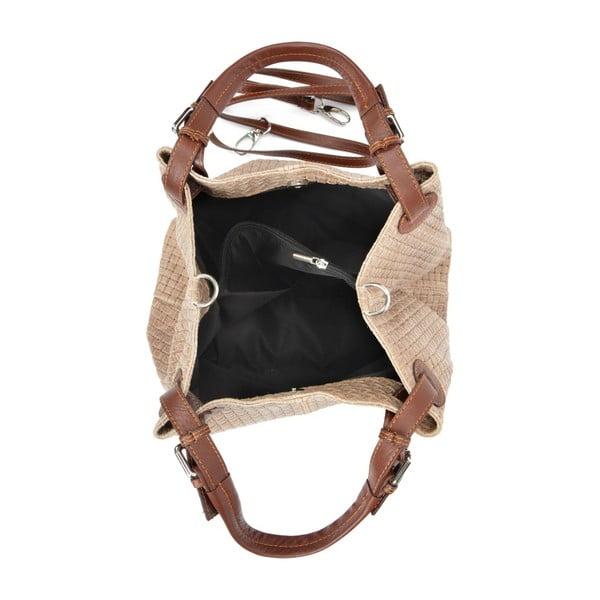 Hnedosivá kožená kabelka Isabella Rhea 858