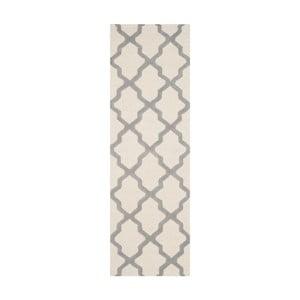Bielosivý vlnený koberec Ava White Grey, 76×182 cm