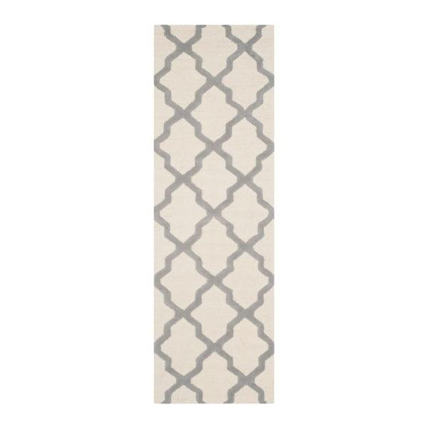 Vlnený koberec Ava White Grey, 76x182 cm