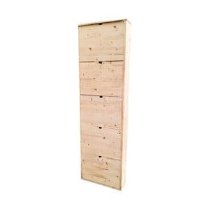 Drevená skrinka na topánky z borovicového dreva s 5 dvierkami Valdomo