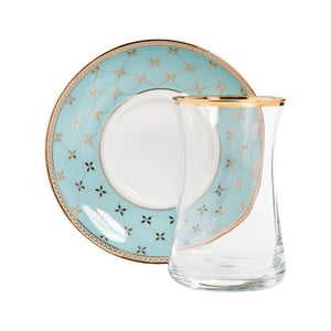 Set pohára s tanierikom Vivas Turquois Decor, 100 ml