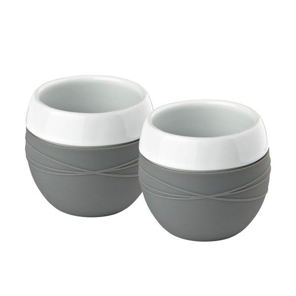 Sada 2 porcelánových hrnčekov so silikónom, šedá