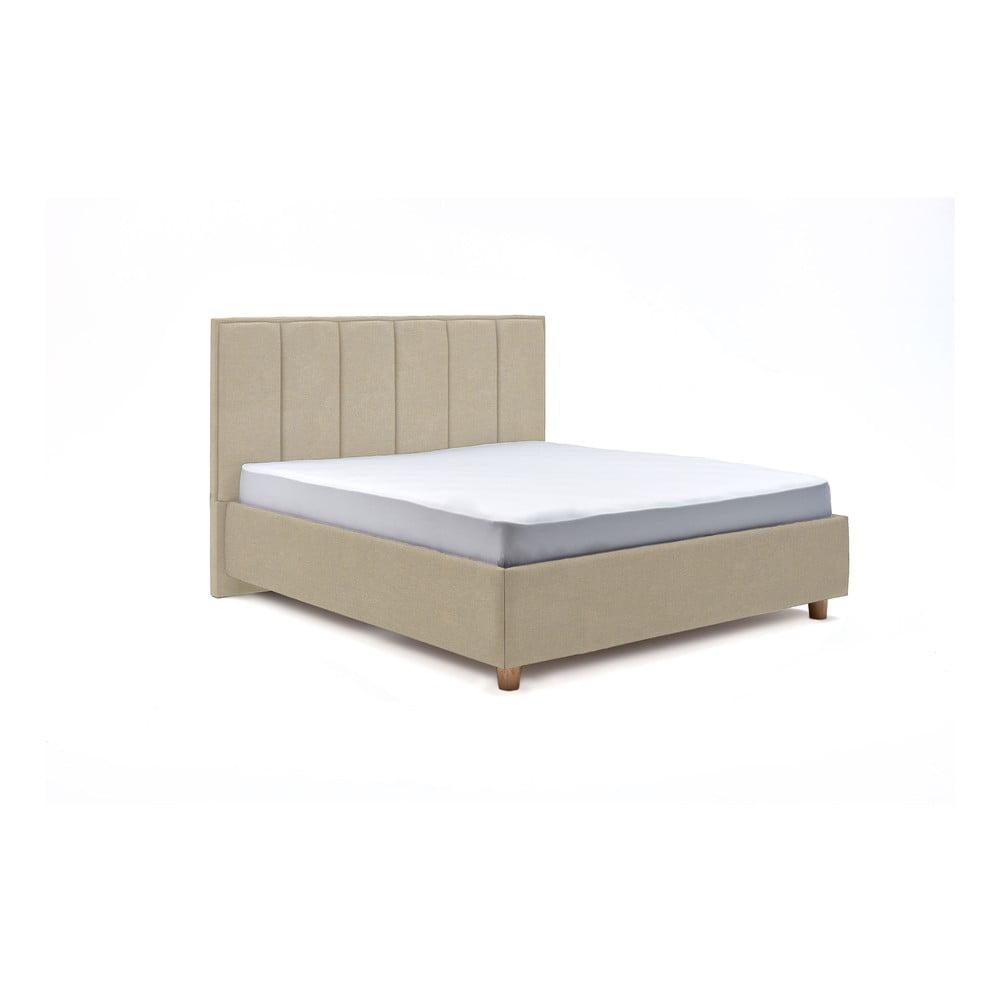 Béžová dvojlôžková posteľ s roštom a úložným priestorom PreSpánok Wega, 160 x 200 cm