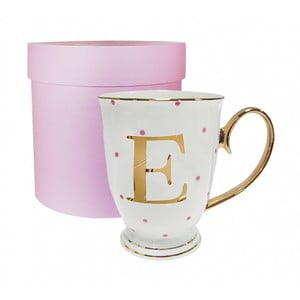 Písmenkový hrnček E s ružovými bodkami