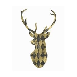 Plagát v drevenom ráme Gold Deer, 38x28 cm