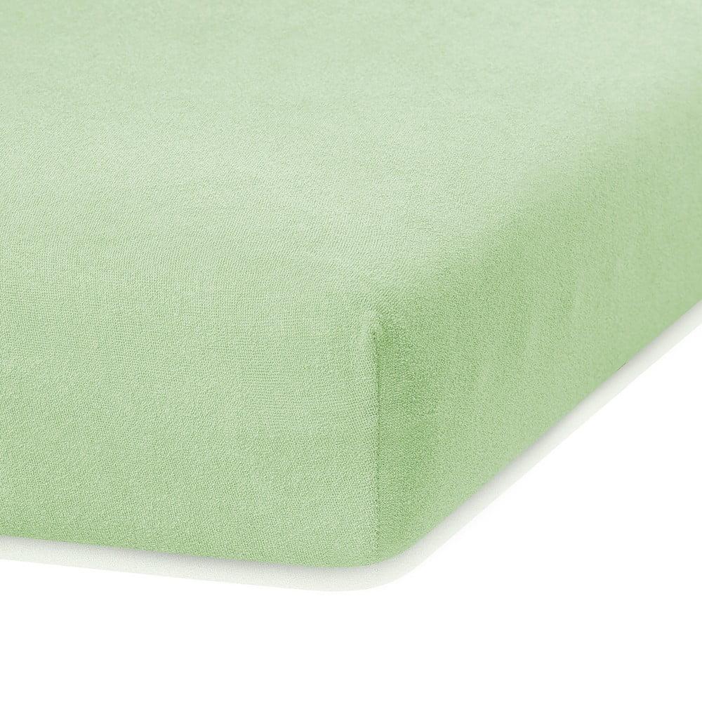 Svetlozelená elastická plachta s vysokým podielom bavlny AmeliaHome Ruby, 200 x 120-140 cm