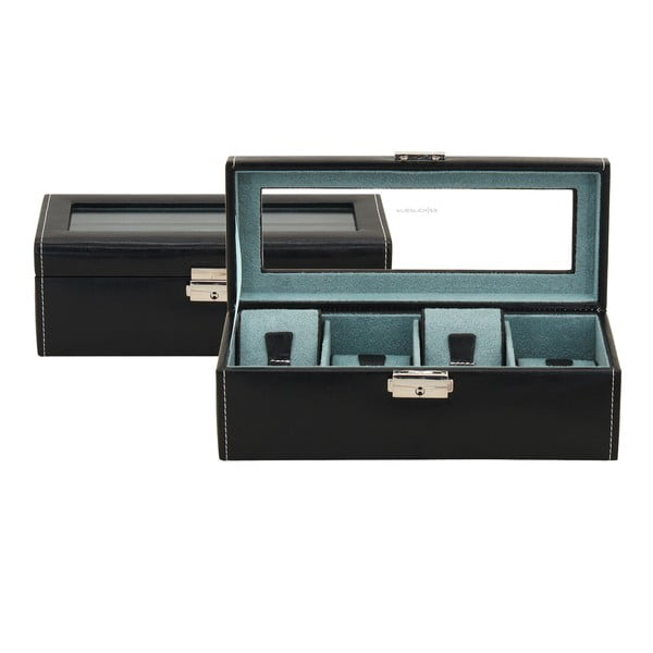 Čierny box na 4 hodinky Friedrich Lederwaren Bond