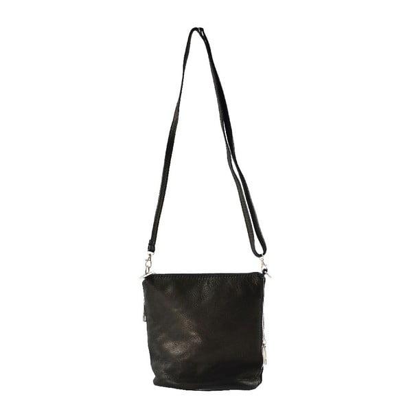 Kožená taška cez rameno Jeunnie, čierna