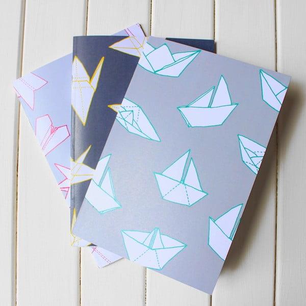 Sada 3 zápisníkov Origami A5