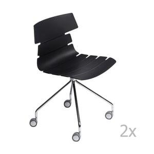 Sada 2 stoličiek D2 Techno Roll, čierne